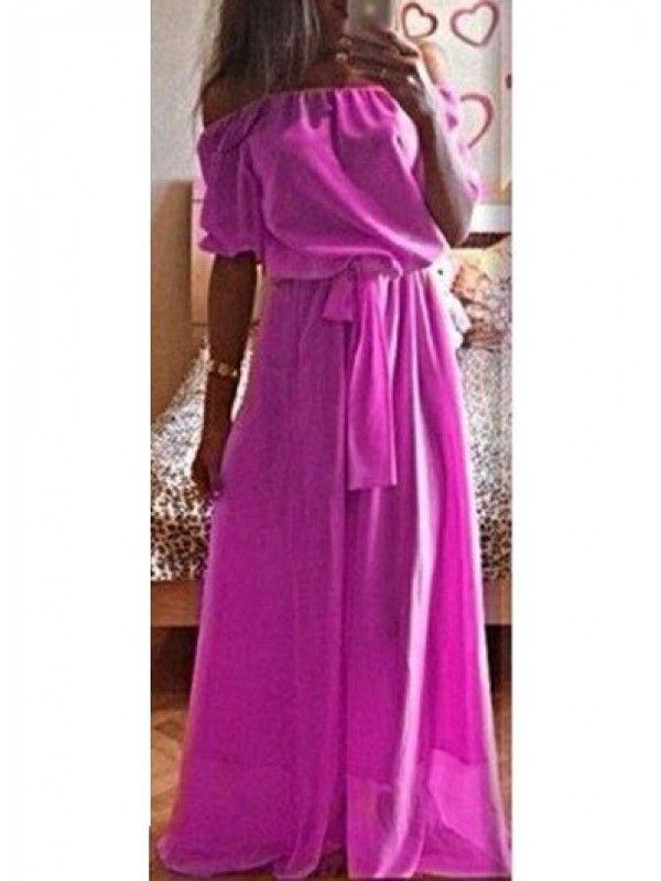 Modern dresses: Purple Boat Neck Belted Maxi Chiffon Dress