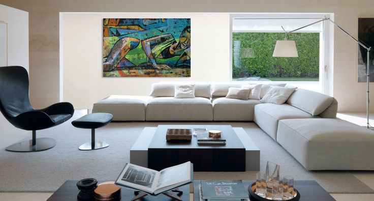 Sofa corner, armchair and contemporary painting of a woman - 'Summertime 4' by @anialuk_art