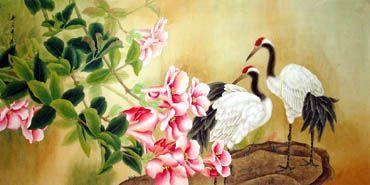 Chinese Crane Painting,66cm x 130cm,4601001-x