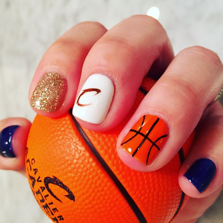 Cavs nail art. Cleveland Cavaliers manicure. Playoffs. Let's Go Cavs, Defend the Land!