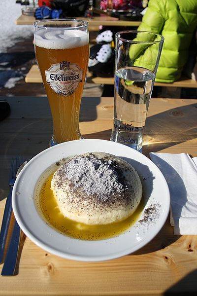 Austrian Food: Germknödel (fluffy dumpling filled with jam, sometimes served with ice cream).