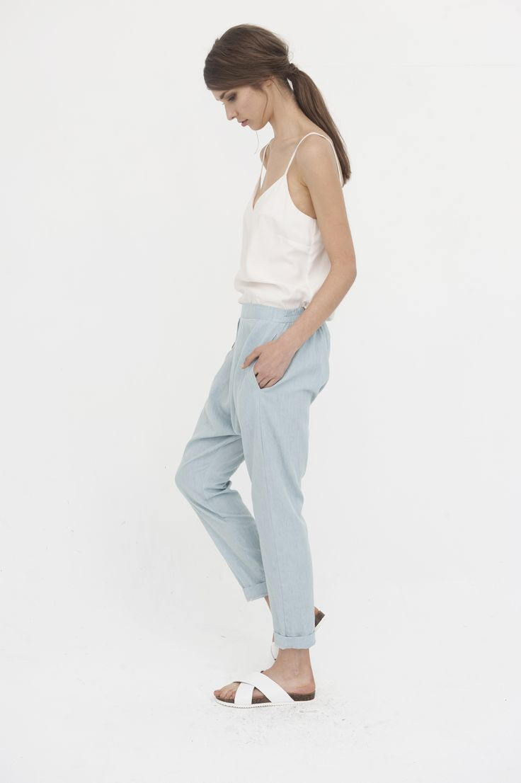 + Dolly Camisole, Vintage White   + Portland Low Crotch Pants, Chambray
