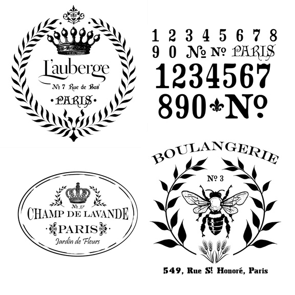 Add a touch of Paris to your Cottage Paint projects with these great stencils. Largest are 12 x 12 so they're great for table tops and cabinet doors.