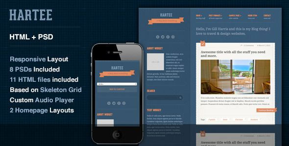 Hartee - A Tumblr Style HTML Template   http://themeforest.net/item/hartee-a-tumblr-style-html-template/3576184?ref=damiamio          Display all your heart's content with Hartee, a responsive Tumblr-style site template with amazing color variations and support for all kinds of post types, audio, video, standard, image, gallery, link and quote!  Some of its features include:   Responsive layout based on Skeleton Grid  HTML5/CSS3  SEO Optimized  2 Columns Responsive layout  Three level drop…