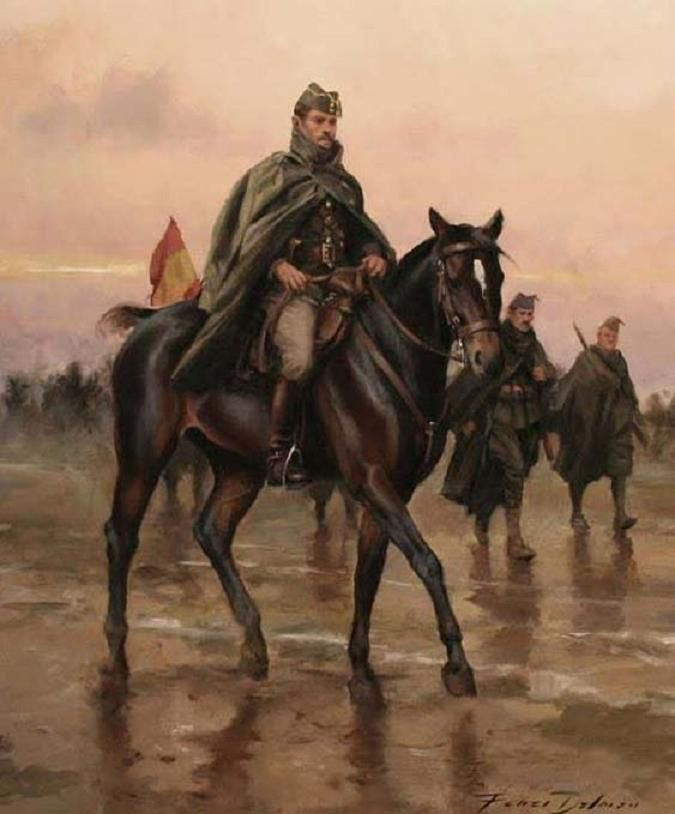 Oficial de la Legión 1938. Lienzo 33x 41 cm. Obra de Augusto Ferrer-Dalmau