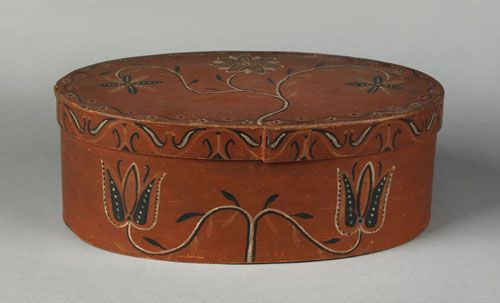 "Pook & Pook.  4/21/07.  Lot 739.  Estimated: $12K - $18K.   Realized: $70,200.  Center County, PA. decorated oval band box, early 19th c., with delicate vine, tulip & drape decoration with floret decorated border on a red surface, inscribed on the underside of the lid ""Jacob Burl 1811"", 5"" h., 14 1/4"" w. For a similar example, see Walter Himmelreich Collection, Pennypacker Auctions, May 1973, lot 83. Provenance: Keible McCutcheon."