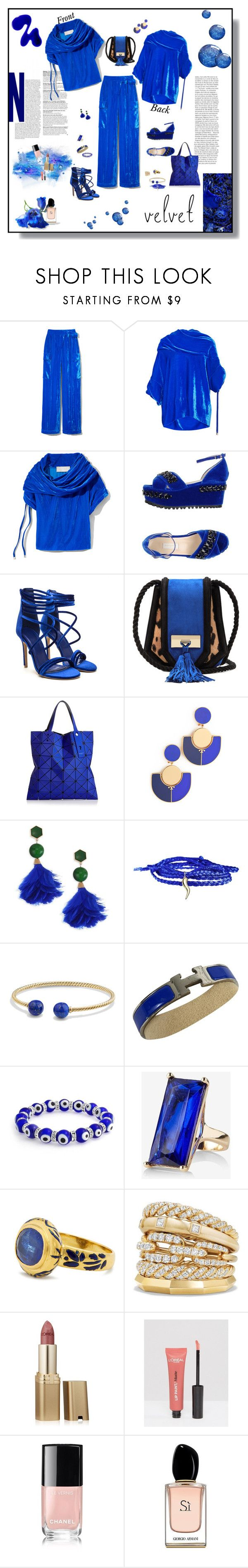 """""""Velvet Day to Night"""" by deborah-518 ❤ liked on Polyvore featuring Monse, L'Autre Chose, Balmain, Issey Miyake, Tory Burch, Minor Obsessions, David Yurman, Hermès, Express and Jade Jagger"""