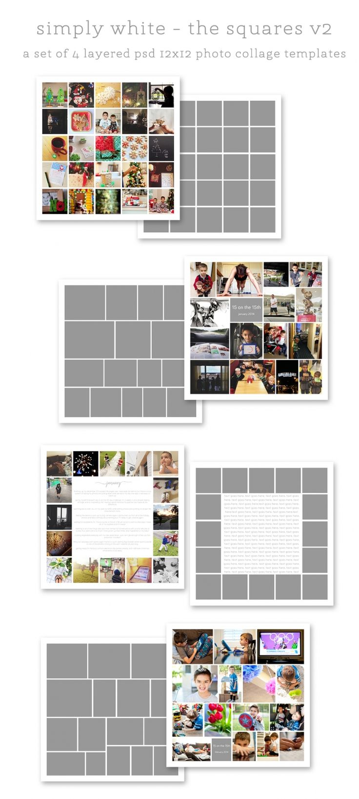 simply white squares v2 + v2r rounded 12x12 photo collage templates | page layout ideas + inspiration for digital project life, modern memory keeping, pocket scrapbooking ===> hellotracylarsen.com