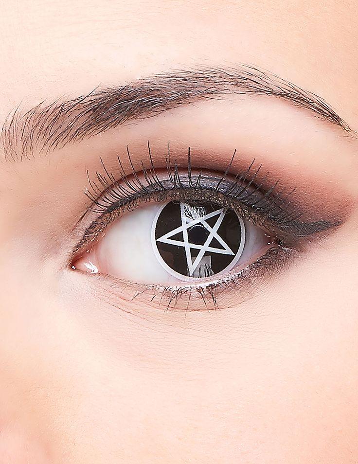 Lentillas contacto fantasía cruz satánica adulto Halloween: Este accesorio de Halloween incluye lentillas de contacto.Las lentillas son blancas con una estrella satánica en el centro. Las lentillas se conservan en una solución estéril...