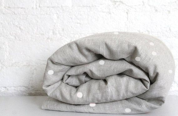 Linen Toddler Bedding   White Spotty by hellomilky on Etsy, $100.00