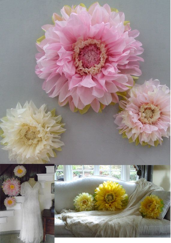 First Birthday Decorations - Set of 3 Giant Paper Flowers (Pink) - Perfect Decorations for Wedding,Birthday Party Shower