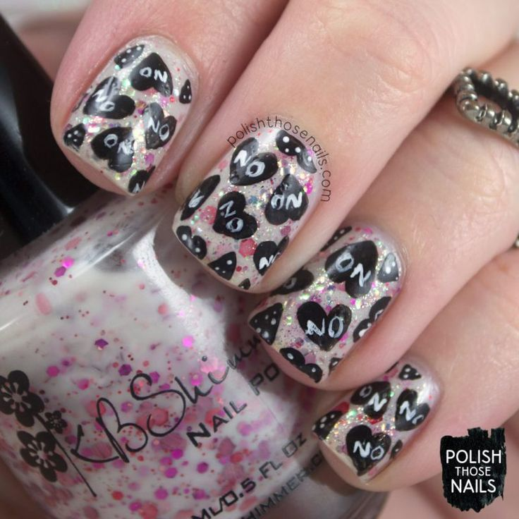 How About No Hearts? // Polish Those Nails // Nail Crazies Unite - Anti-Valentines Hearts // kbshimmer - china glaze - indie polish - nail art