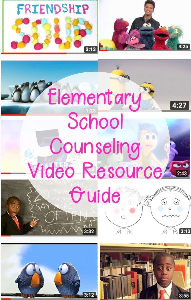 30 youtube videos for elementary school counselors to use during class lessons