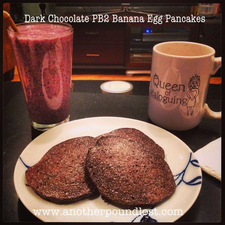 Dark Chocolate PB2 Banana Egg Pancakes! Just 4 PointsPlus.  www.anotherpoundlost.com