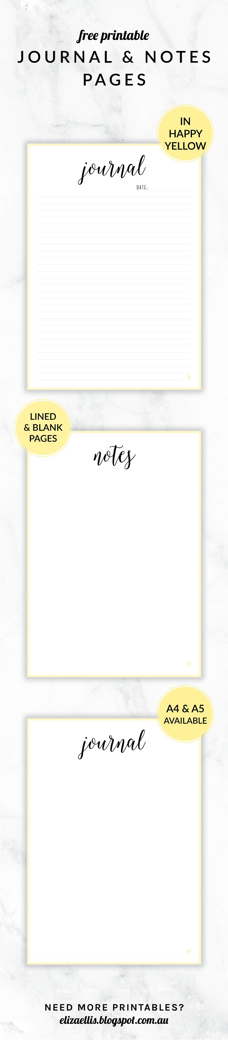 // Eliza Ellis    Free Printable Irma Journal and Notes Pages. Includes lined and unlined versions as well as follower pages. Available in 6 colors and in both A4 and A5 sizes.
