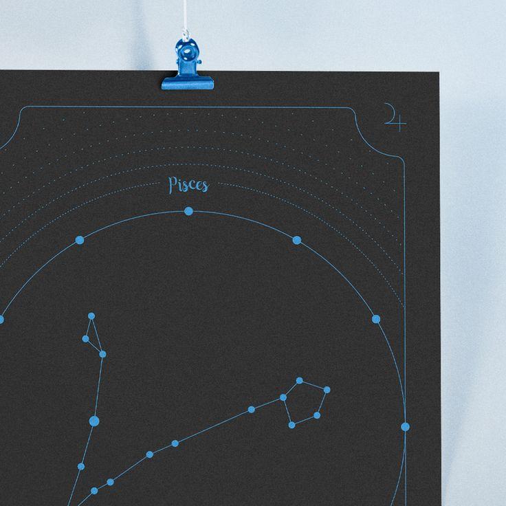 Pôster da constelação de peixes o décimo segundo signo do zodíaco. Peixes…