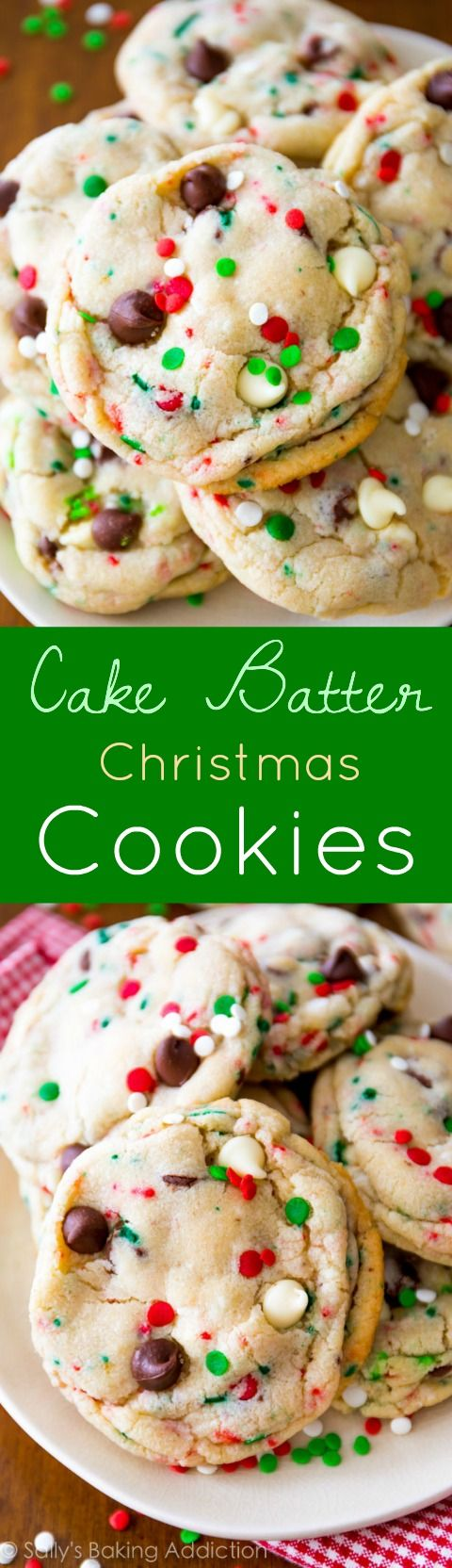 My famous cake batter chocolate chip cookies all dressed up for the holidays! Use green and red sprinkles to make them festive Christmas cookies.