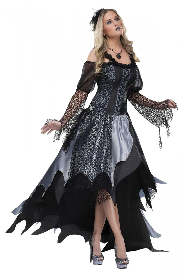 High Quality Black Widow SPIDER QUEEN Gothic Evil Halloween Womens Costume small