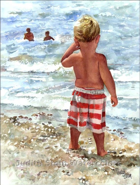Toddler boy on the beach watching big sister and brother play in ocean...  Judith Stein watercolor <> (seashore, ocean, coastal, nautical, art)