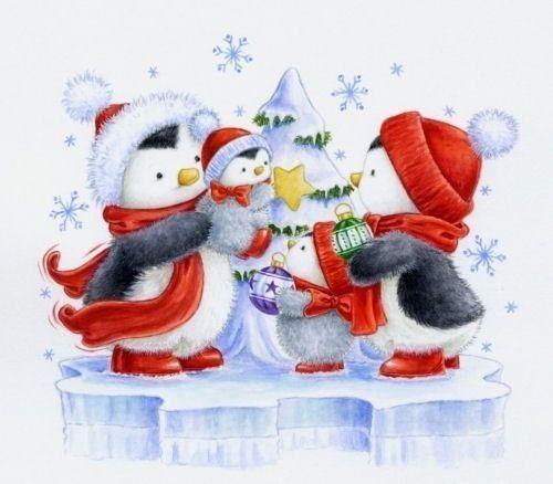 Мальчикам, новогодняя открытка пингвином