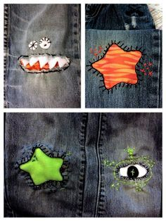 Fun patches. This is a creative solution for pants that have holes in the knees. #patch #Jean #Kid