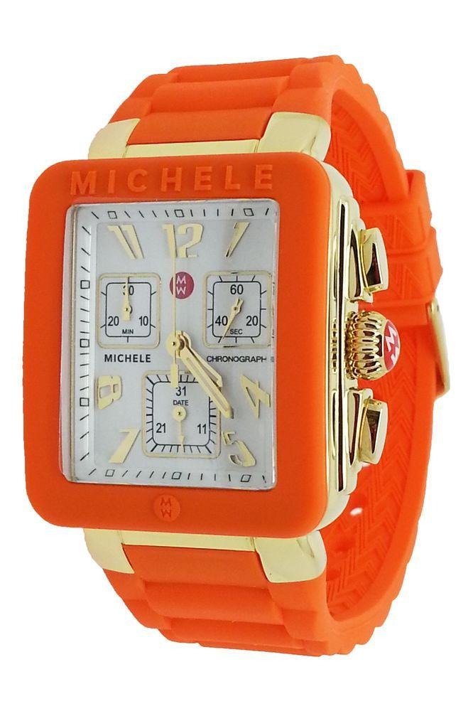 New MICHELE MWW06L000023 park Jelly Bean chronograph women's watch orange #Michele #Fashion