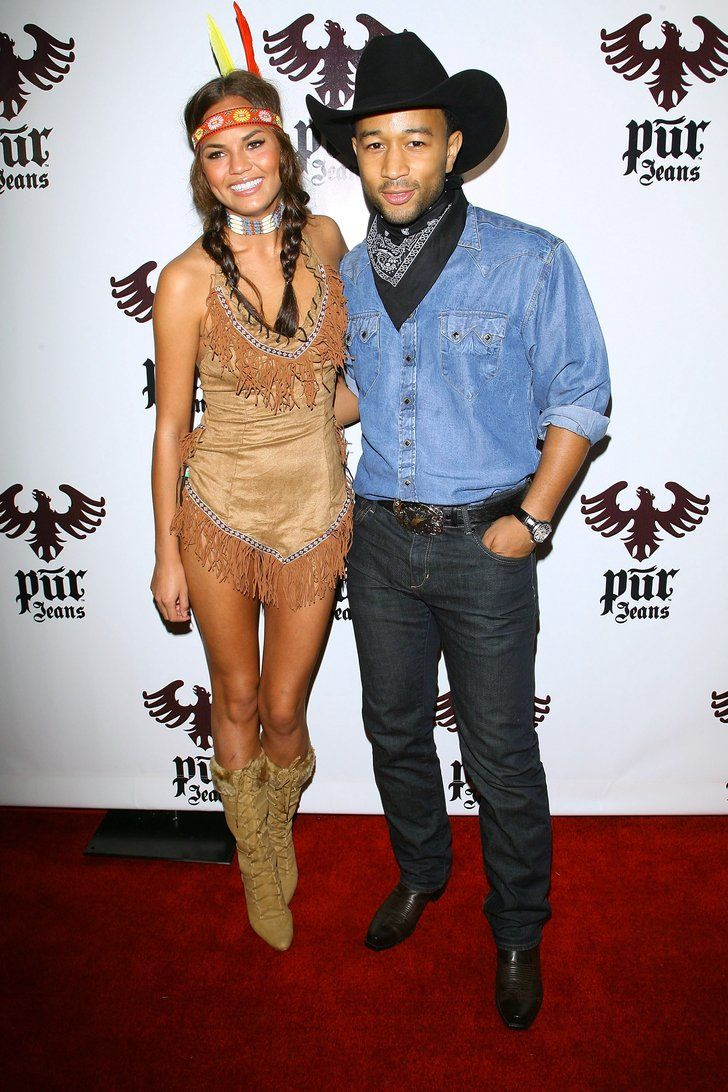 Pin for Later: Over 250 Celebrity Halloween Costumes!  Chrissy Teigen played the part of Pocahontas while attending a Halloween bash with fiancé John Legend in 2008.