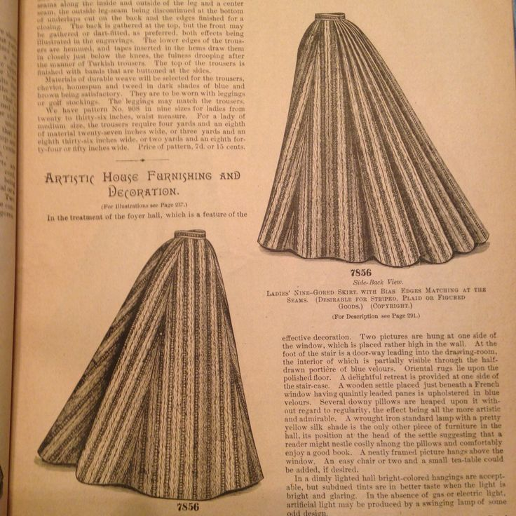 1895 Nine-gored skirt with bias edges matching at the seams. Desirable for striped, plaid, or figured goods. The Delineator
