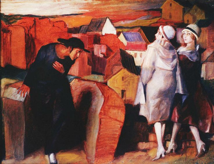 Bruno Schulz -Encounter. Jewish youth and two women in an urban alley', 1920