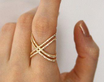 X Ring / Criss Cross Ring / 14 K goud vullen X door HappyWayJewelry