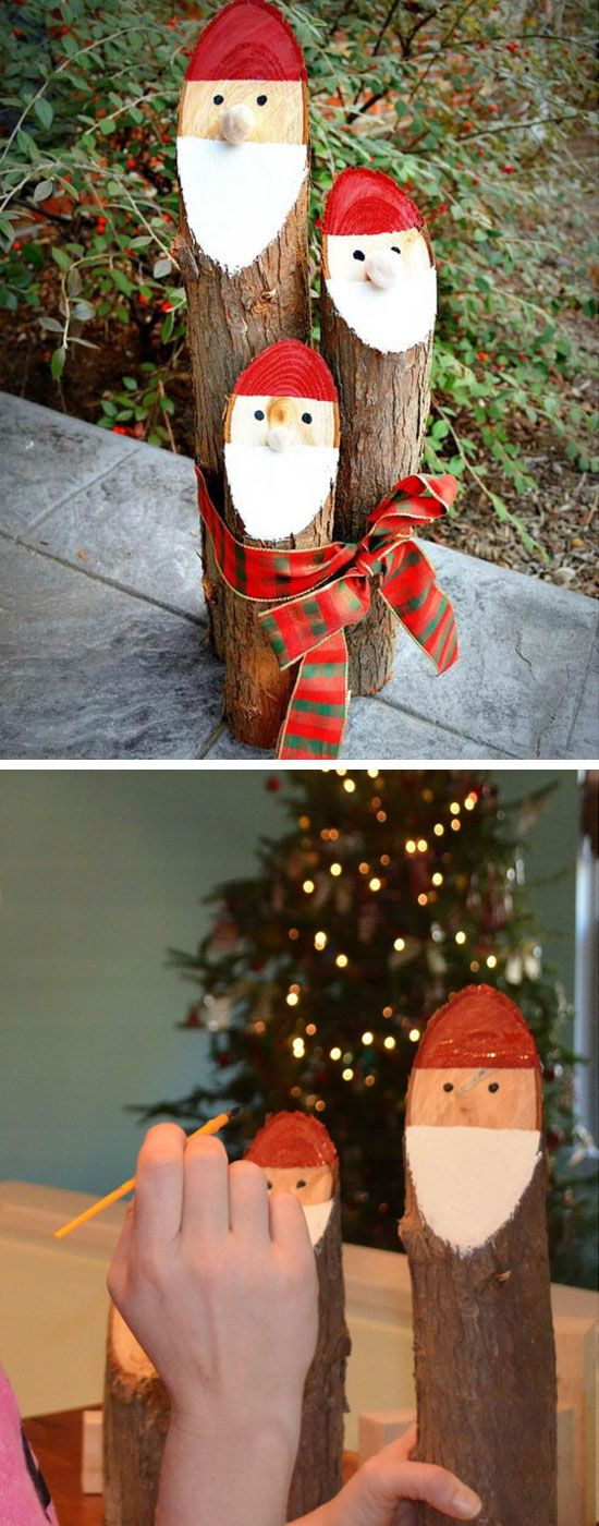 Painted Santa Logs | Click Pic for 20 DIY Christmas Outdoor Decorations | DIY Front Porch Christmas Decorations on a Budget