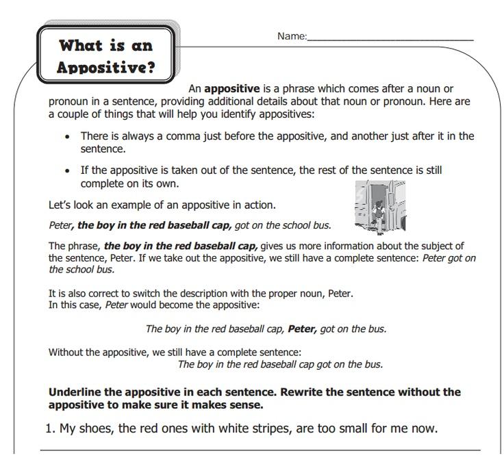 Appositive Worksheets What is appositives? via jennifer stone-rosales