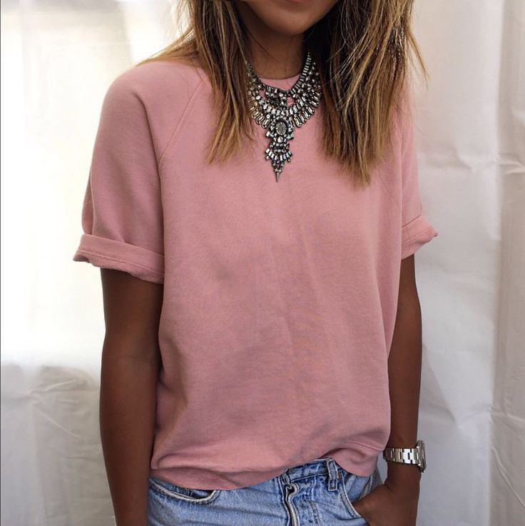 Tshirt with frayed denim shorts or distressed jeans + statement necklace and/or time piece = hot summer 2017
