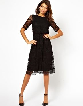 Midi Dress In Lace With Wrap Back (Straight Hem)