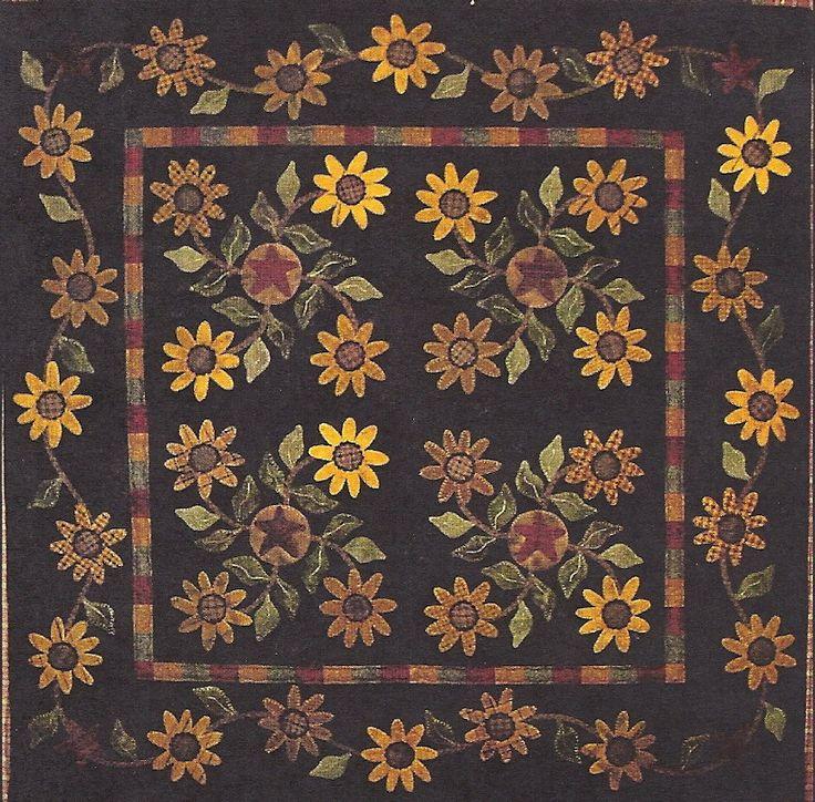 primitive quilts | Primitive Folk Art Wool Applique Quilt Pattern: SUNFLOWERS -- Wall ...