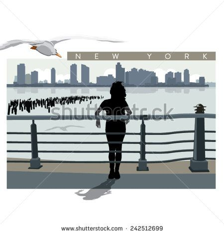 Vector New Jersey view from Battery Park with a standing woman silhouette - stock vector  #shutterstock #NewJersey #NewYork #Battery_Park #silhoutte #illustration #cityscape #panorama #woman #vector #usa #seagull