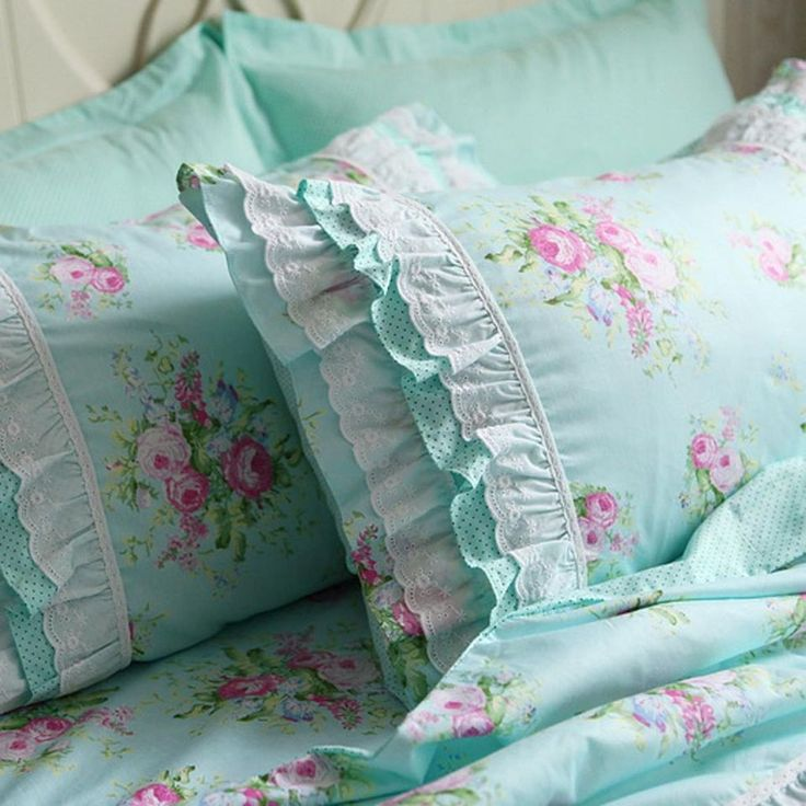 Shabby Green Rose chic country cottage ruffle lace pillow sham