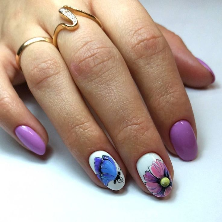 April nails, Butterfly nails ideas, Ideas of lilac nails, Paleliliac nails, Purple nails, Purple nails with a pattern, Purple shellac, Spring nail art