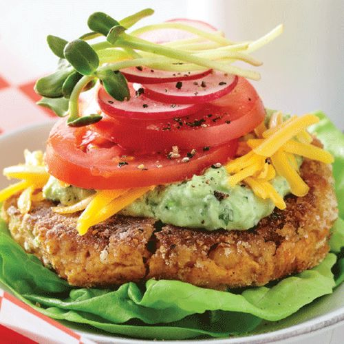 Pair this protein-rich, meatless burger with a crisp lettuce leaf, cheese and a rich sauce. Even meat-lovers will enjoy this delicately flavored burger.