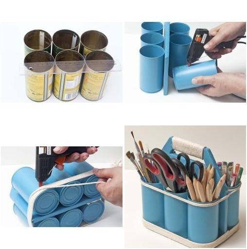 Ideas para ordenar. A partir de varias latas recicladas podemos hacer un estupendo organizador para nuestros materiales y utensilios.
