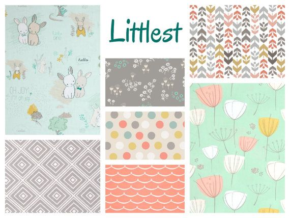 Littlest Baby Girl Bedding - Minky Blanket, Sheet and Crib Skirt in Peach Mint and Grey