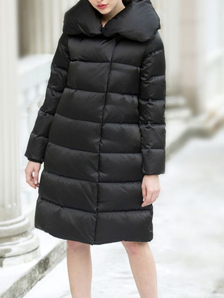Black Pockets Fashion Down Coats