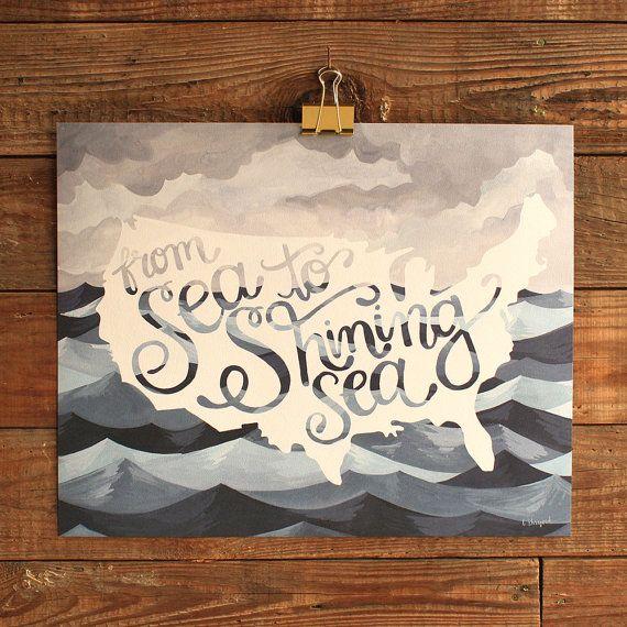 Sea to Shining Sea Art Print  16x20 by 1canoe2 on Etsy