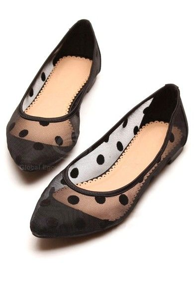 Sheer polka dot flats-would love these in navy