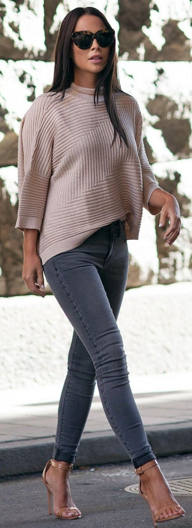Street Fashion Inspiration | River Island Molly Jeans, Knitted Sweater #river - Women's Shoes - http://amzn.to/2gIrqH5