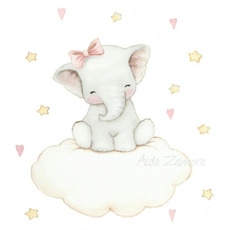 Baby elephant on cloud, nursery art by Aida Zamora