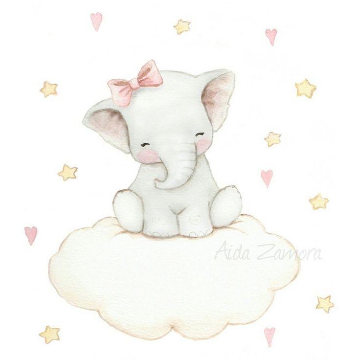 Baby elephant on cloud, nursery art by Aida Zamora
