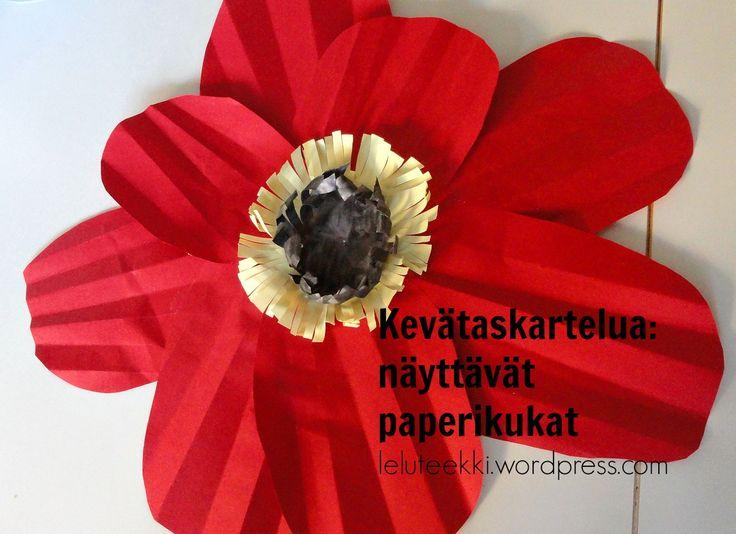 kevätaskartelu paperikukka http://blogi.leluteekki.fi #askartelu #kevät #kevätaskartelu #paperi #lapsille