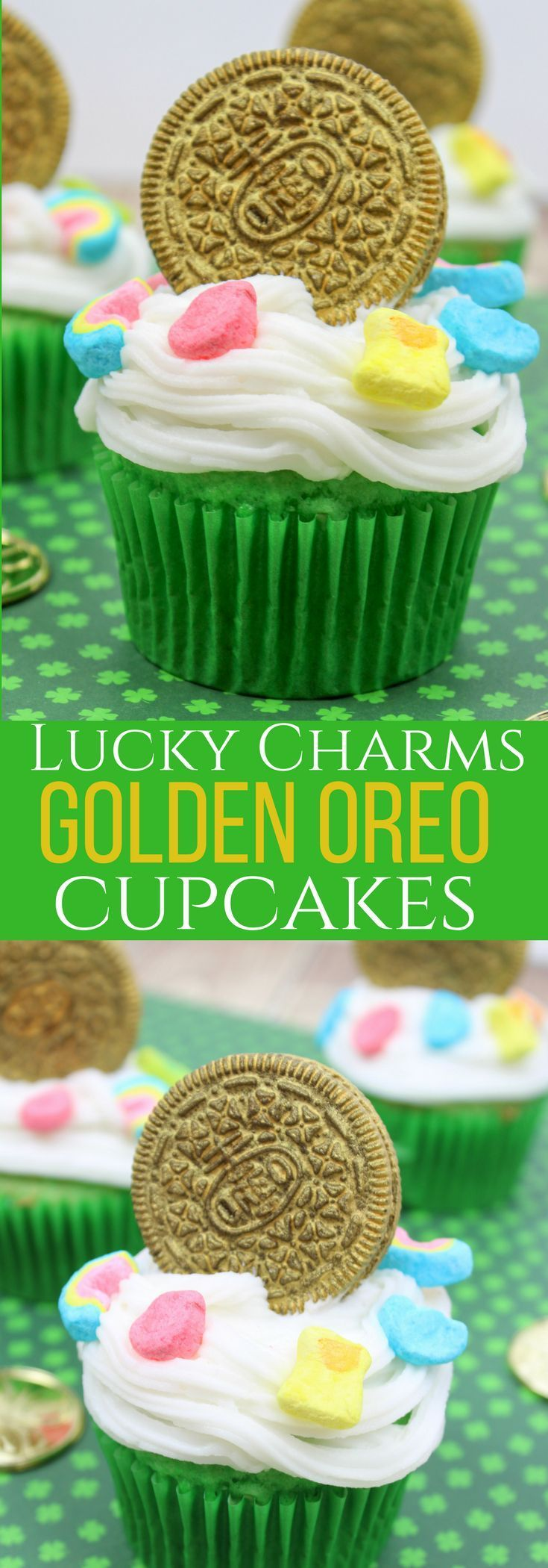 This Lucky Charms Golden Oreo Cupcake is a perfect St. Patricks Day recipe for kids classroom. Find the gold at the end of the rainbow with Golden Oreo desserts.