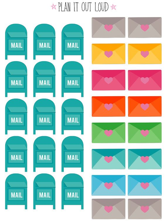 Mail and envelope stickers (Erin Condren Stickers)